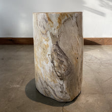 Load image into Gallery viewer, Light Beige and Black Petrified  solid wood stool block , fossil wood side end table or coffee table 4