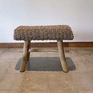 Rectangular Natural Raffia stool on Teak wood
