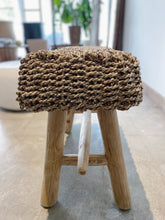 Load image into Gallery viewer, Rectangular Natural Raffia stool on Teak wood