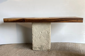 Live Edge wood console: Solid Live Edge console  beautiful thick single slab solid wood, with live edge wood top and limestone base