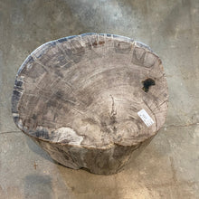 Load image into Gallery viewer, Beige Petrified wood stool block , fossil wood end table or coffee table