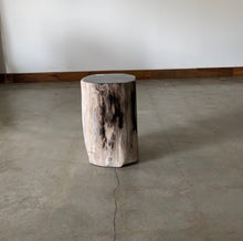 Load image into Gallery viewer, Light Beige, Cooper and Black Petrified  solid wood stool block , fossil wood side end table or coffee table 2