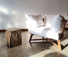 Load image into Gallery viewer, Brown Petrified wood stool block , fossil wood end table or coffee table