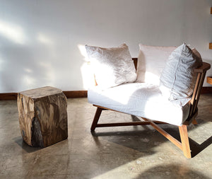 Brown Petrified wood stool block , fossil wood end table or coffee table