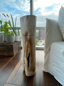 White and Black Petrified  long solid wood stool block , fossil wood side end table