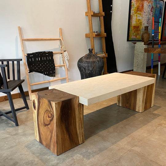 Rectangular Live Edge Dining Table | Unique Contrast Between Limestone Slab and Wood Block Bases