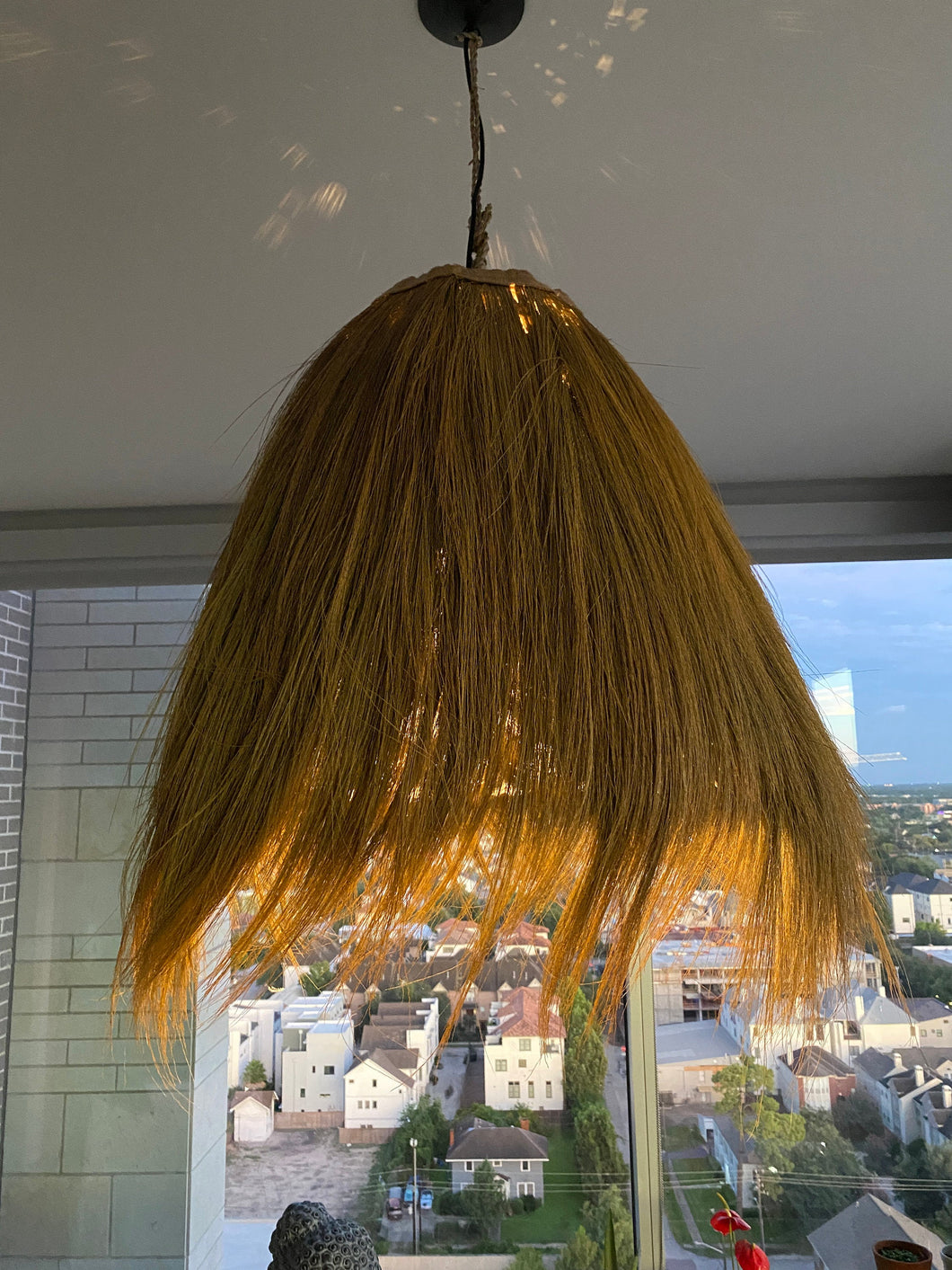 Gold Seagrass Fringe Pendant Light | Natural Lamp