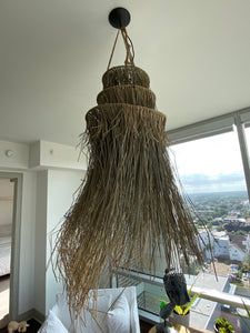 Brown Seagrass Fringe Pendant Light | Natural Lamp