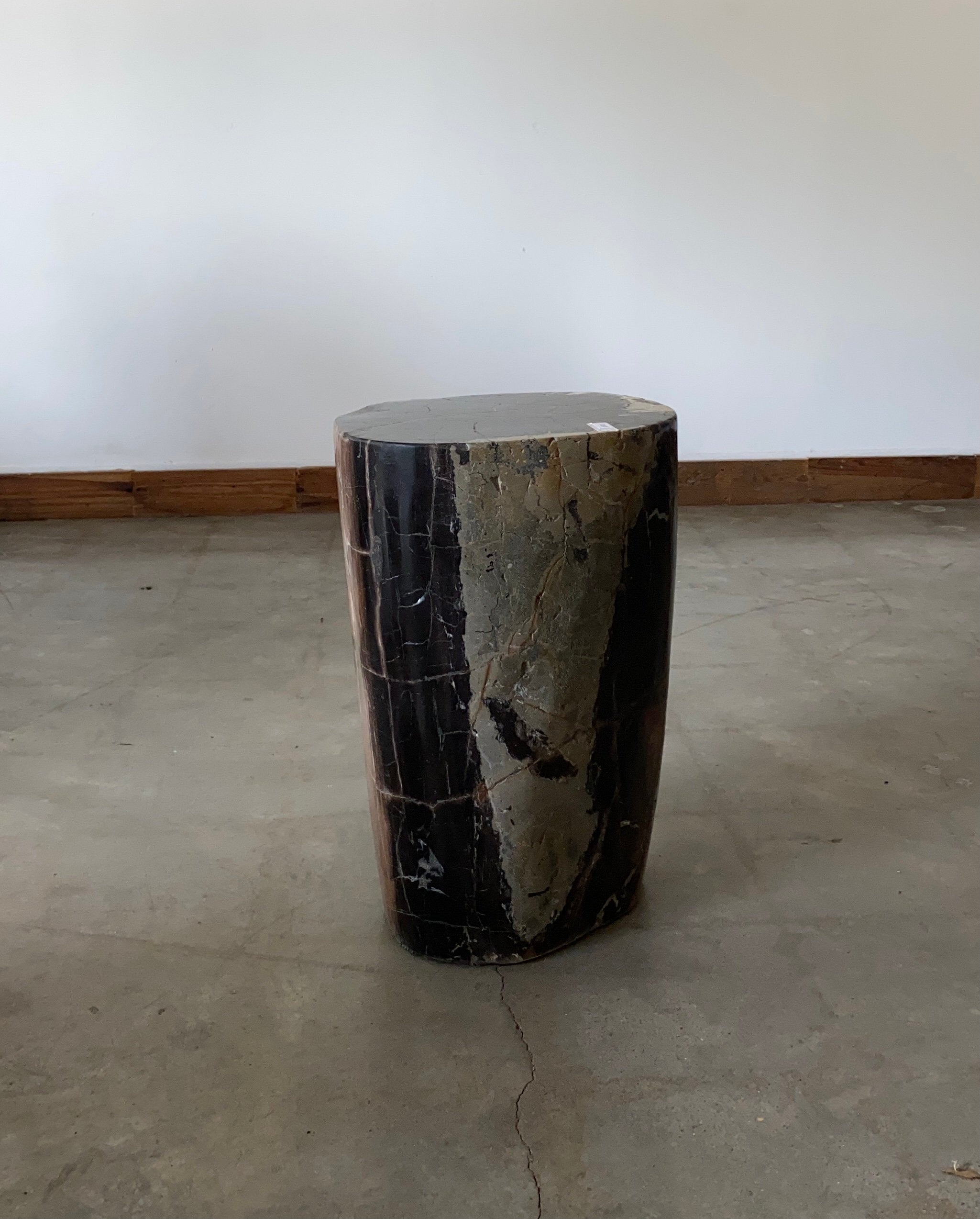 Black, gray and copper Petrified wood stool block , fossil wood end table or coffee table