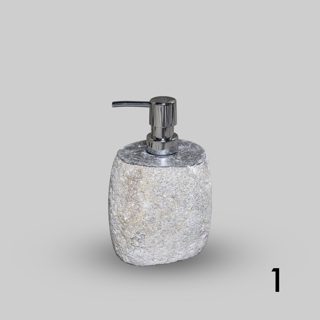 Stone Soap Dispenser with Pump, Natural River Stone Bathroom, Kitchen, Studio Accessory GROUP 2