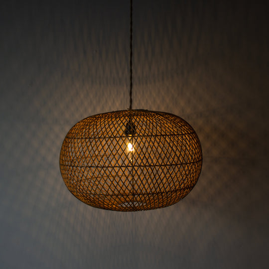 Handwoven Rattan Large Ball Pendant Light | Simple and Natural Lamp Boho