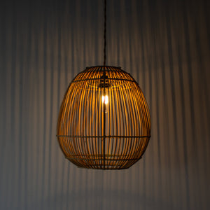 Handwoven Rattan Egg Shape Pendant Light | Simple and Natural Lamp