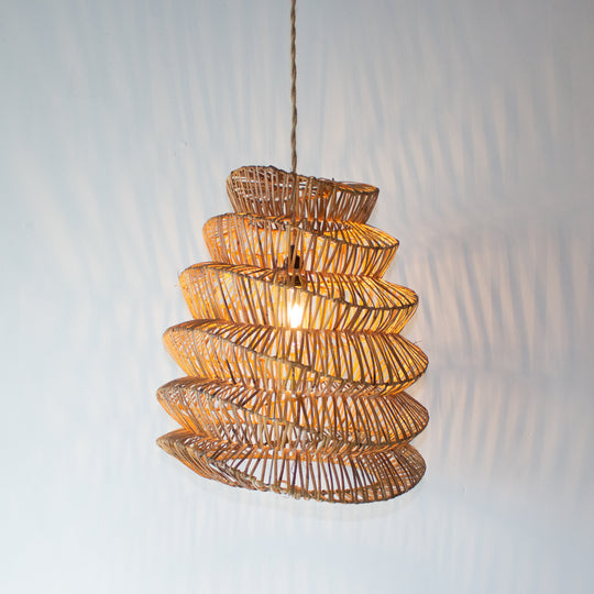 Handwoven Rattan Large Boho Pendant Light | Simple and Natural Lamp