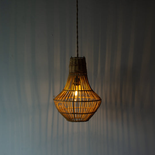 Handwoven Rattan Small Pear Pendant Light | Simple and Natural Lamp Boho