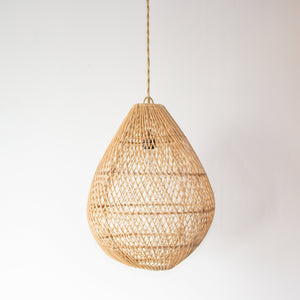 Handwoven Rattan Large Egg Shape Pendant Light | Simple and Natural Lamp Boho