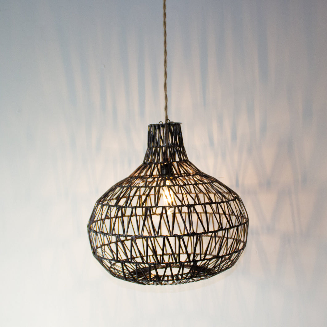 Handwoven Rattan Black Pendant Light | Simple and Natural Lamp Boho