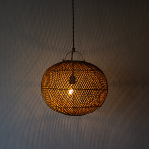 Handwoven Rattan Ball Pendant Light | Simple and Natural Lamp Boho