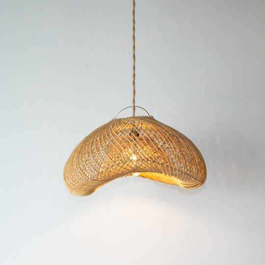 Handwoven Rattan Shell Pendant Light | Simple and Natural Lamp Boho