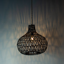Load image into Gallery viewer, Handwoven Rattan Black Pendant Light | Simple and Natural Lamp Boho