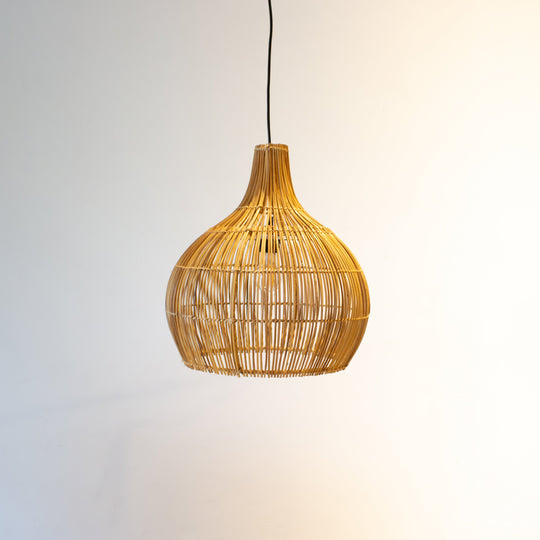 Rattan Pear Pendant Light with Hook | Simple and Natural Lamp Boho