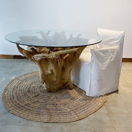 Solid Teak Wood Root Dining Table for Round or Square Glass Top  52