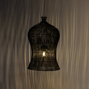 Large Black Rattan Pendant Light | Simple and Natural Lamp Boho