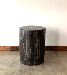 Black/Grey #16 Petrified wood stool block , fossil wood end table or coffee table 15.5