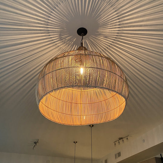 Large Handwoven Rattan Boho Pendant Light | Simple and Natural Lamp
