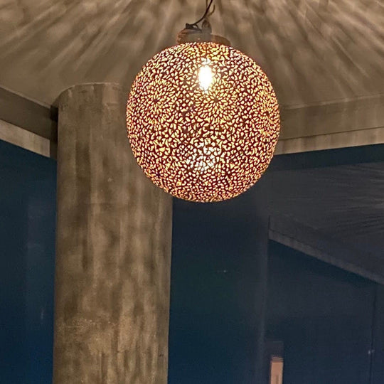 Bronze Hand Carved Pendant Light | Simple and Natural Lamp Boho