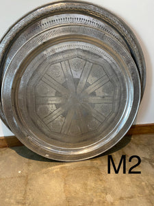 Vintage  about 1970 Large moroccan tray table aluminum 34""