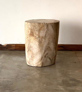 Beige/Cream #15 Petrified wood stool block , fossil wood end table or coffee table 17