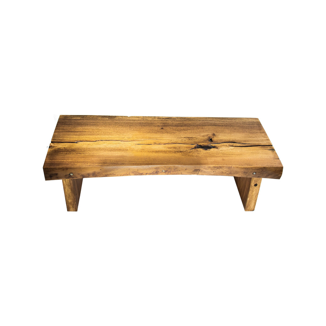 Live Edge Bench or Coffee Table with Modern Metal Base | Natural Wooden Slab and Base