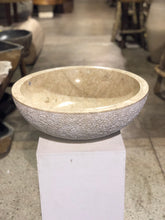 Load image into Gallery viewer, Large Natural Marble Vessel Sink | Hammer Finish Cream Color