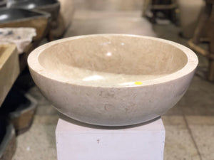 Large Natural Marble Vessel Sink | Smooth Finish Cream Color