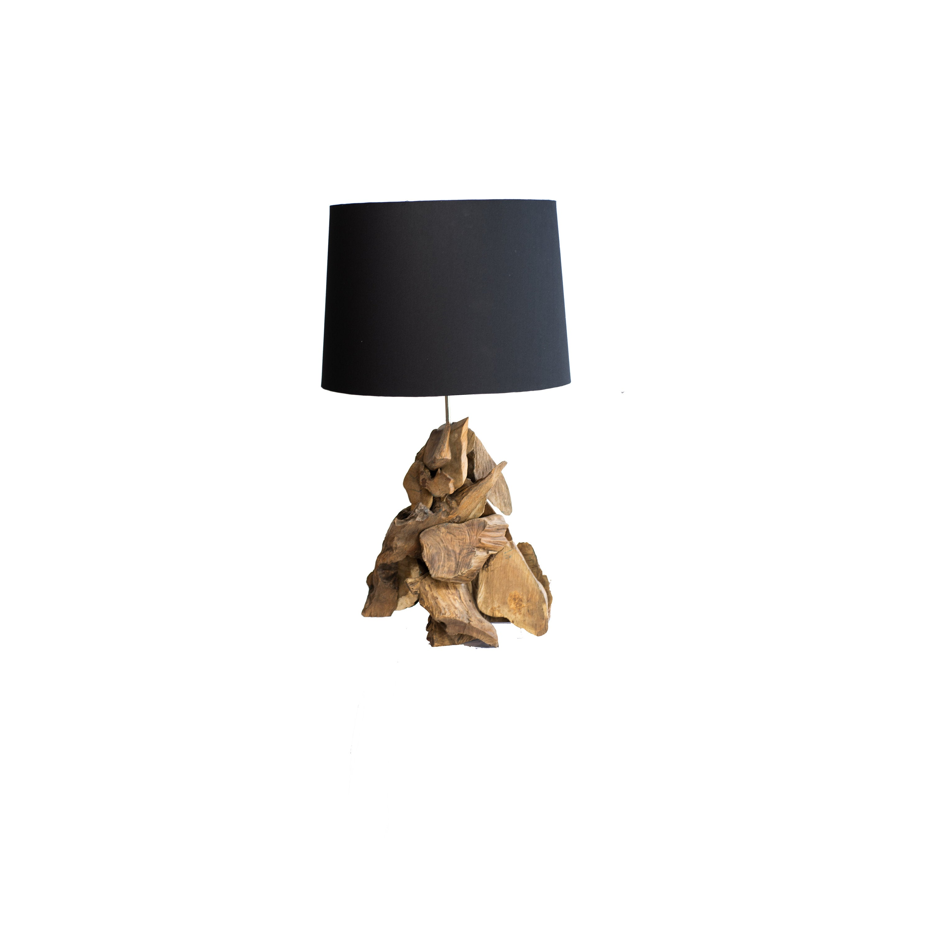 Table lamp made from teak wood and black shade
