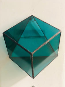 Stained green transparent glass 3D geometric cube wall or table top decoration Sculpture Tiffany technique - Large, Platonic Solid