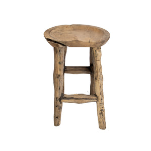 Solid reclaimed wood stool from teak root 3