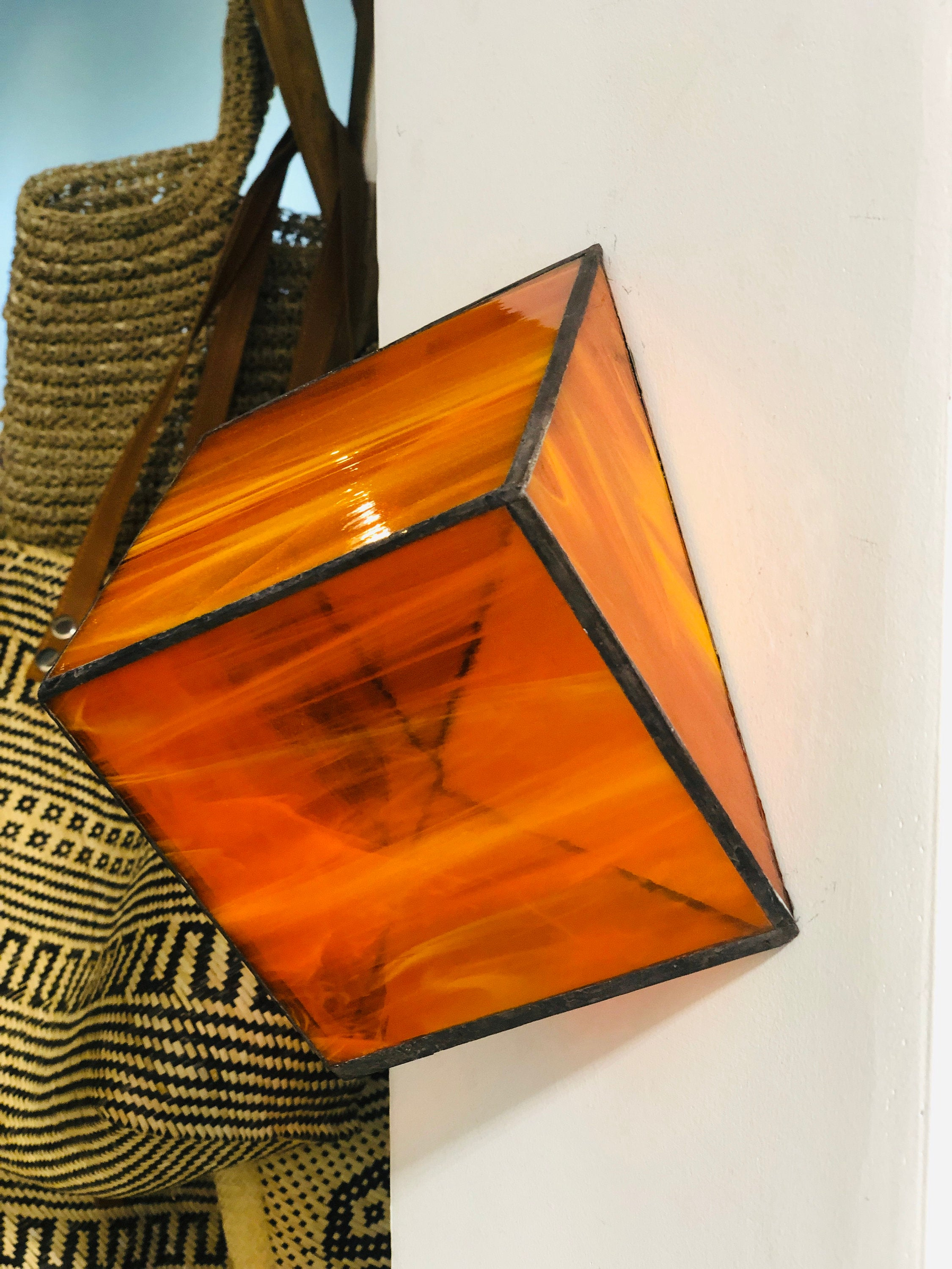 Stained Orange semi transparent glass 3D geometric cube wall or table top decoration Sculpture Tiffany technique - Large, Platonic Solid