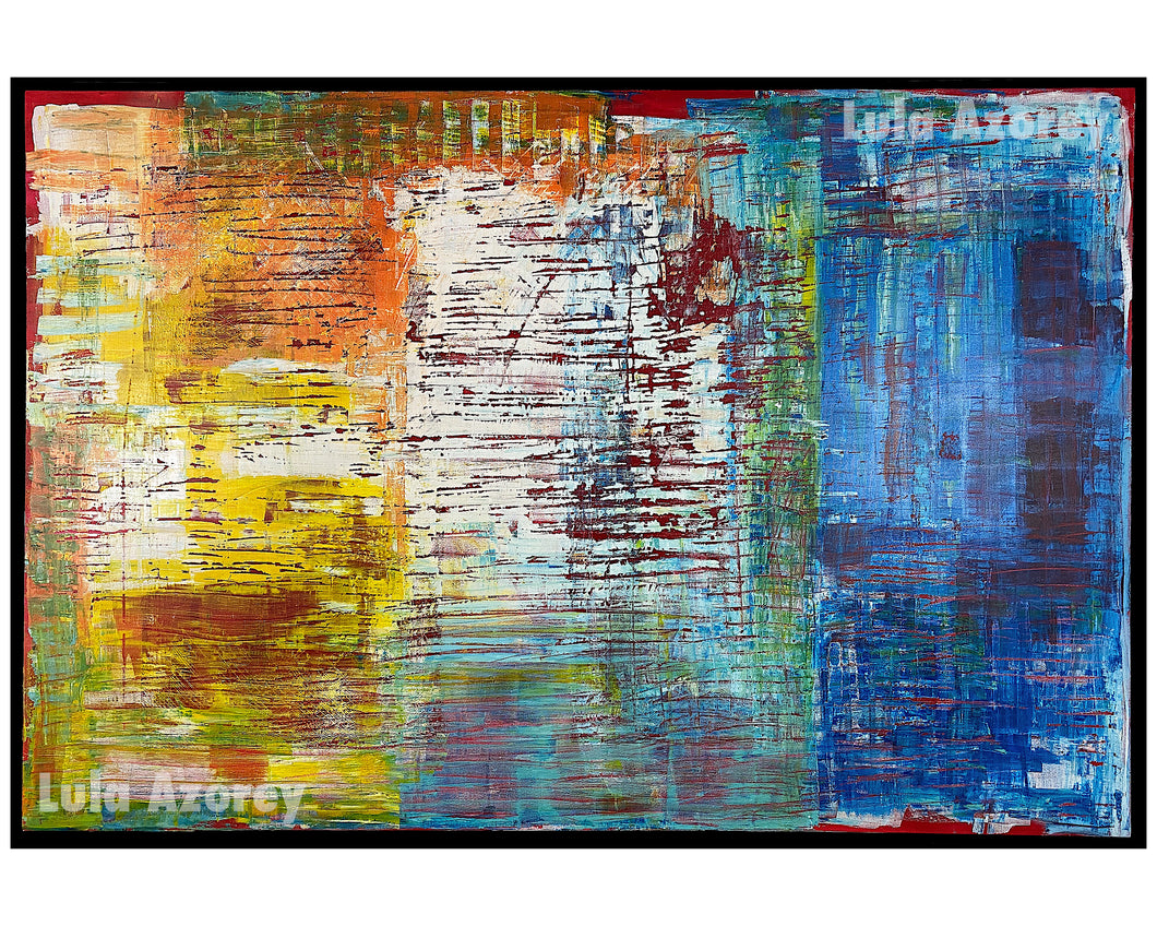 REGRET, Original Large Painting, 48x72, Abstract, Ready to Hang, Modern Black Frame - Lula Azorey