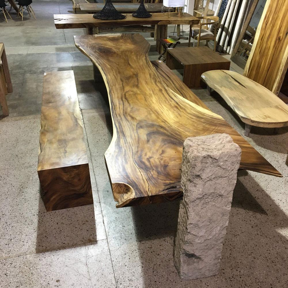 "156"" L Live Edge dining table beautiful wood slab table w/ stone base"