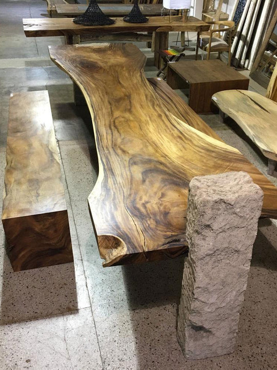 Large Live Edge Dining Table | Unique Contrast Between Wooden Slab and Limestone Base | 156
