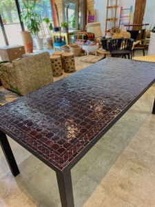 Medium Zellige Tile Mosaic Rectangular Dining Table, VARIES IN SIZE AND COLOR