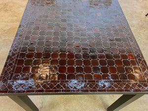 Extra Large Zellige Tile Mosaic Rectangular Dining Table, VARIES IN SIZE AND COLOR