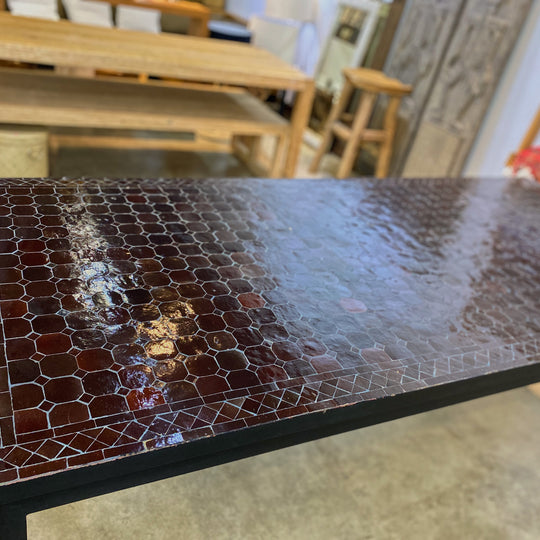 Small Zellige Tile Mosaic Rectangular Dining Table, VARIES IN SIZE AND COLOR