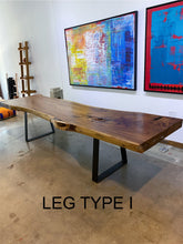 "Load image into Gallery viewer, Large Live Edge Table, 119"" Wood Slab, Metal Base"