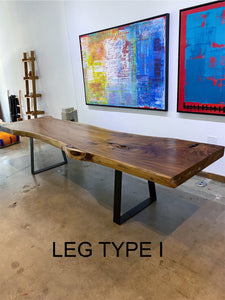 "Large Live Edge Table, 114"" Wood Slab, Metal or Wood Base"
