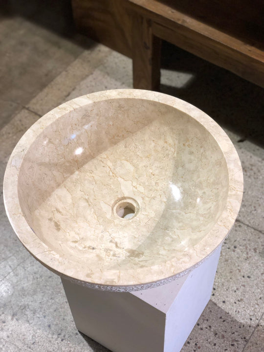 Large Natural Marble Vessel Sink | Hammer Finish Cream Color