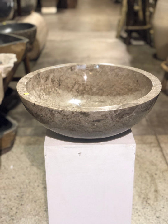 Large Natural Marble Vessel Sink | Smooth Finish Grey-Brown Color