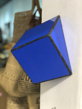 Load image into Gallery viewer, Stained  Solid purple blue glass 3D geometric cube wall or table top decoration Sculpture Tiffany technique - Large, Platonic Solid