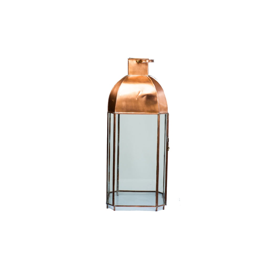 Moroccan Copper Bronze Candle Lantern | Modern Glass
